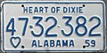 1959 Alabama passenger license plate.jpg