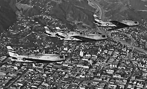 195th Fighter Squadron - 195th Fighter-Bomber Squadron - North American F-86A Sabre Formation over Los Angeles, 1954