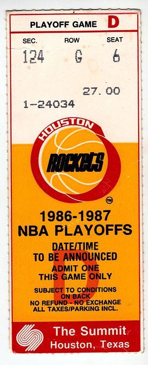 Houston Rockets - A ticket for Game 2 of the 1987 Western Conference Semifinals between the Rockets and the Seattle SuperSonics.