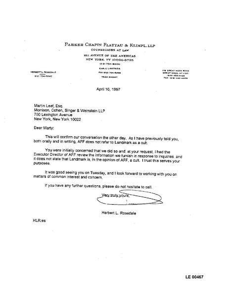 file 1997 aff letter to landmark attorney martin