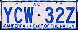 1998 Australian Capital Territory registration plate YCW♦32Z Canberra - Heart of the Nation