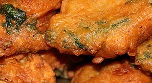 Pakora - Close-up of Pakora containing spinach