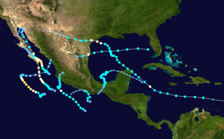 Track map of all eight Atlantic and Pacific hurricanes that struck Mexico 2003 landfalling mexico hurricanes.png