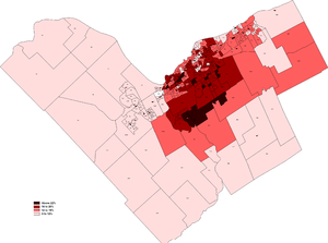 Bob Chiarelli - A map showing the distribution of Chiarelli's vote in the 2006 election. His best areas were his home district around Carlingwood and the southern suburbs that were to have been serviced by his O-Train plan.