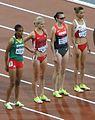 2012 Olympic steeplechase start-Assefa, Coburn, Möldner-Schmidt, Ghribi.JPG