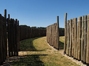 Goseck circle - A view inside the reconstructed wooden palisade of the circle