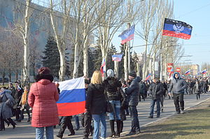 Russian military intervention in Ukraine (2014–present) - Pro-Russian protesters in Donetsk, 9 March 2014
