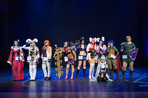Cosplay - A group of cosplayers on stage at Yukicon 2014 convention in Finland.