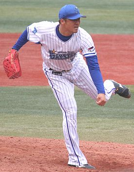 20150314 Hideki Okajima pitcher of the Yokohama DeNA BayStars, at Yokohama Stadium.JPG