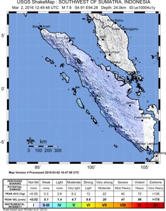 2016 Sumatra earthquake - Image: 2016 Sumatra earthquake shakemap