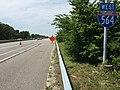 2017-07-12 14 19 24 View west along Interstate 564 (Admiral Taussig Boulevard) just west of Virginia State Route 406 (Terminal Boulevard) in Norfolk, Virginia.jpg