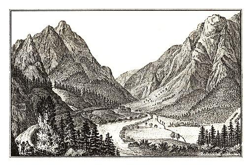 257 Ansicht des Salzathales im Brucker Kreis - lith. Anton Schiffer, J.F.Kaiser Lithografirte Ansichten der Steiermark 1830