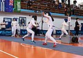 2nd Leonidas Pirgos Fencing Tournament. Double touch for Eleftheria Mimigianni and her opponent.jpg
