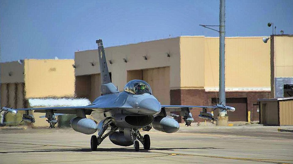 A F-16 Fighting Falcon of the 54th Fighter Group at Holloman Air Force Base, during 2014.