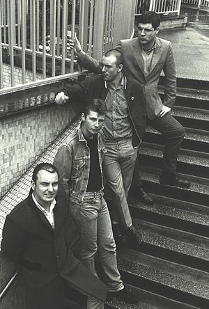 The 4-Skins - The 4-Skins, Hodges, Pear, Jacobs and McCourt in 1980 at Aldgate East, East London.