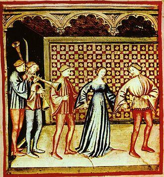 Medieval dance - Dance with musicians, Tacuinum sanitatis casanatense (14th century)