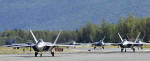 477th Fighter Group - Six F-22 Raptors taxi following touchdown at Elmendorf Air Force Base, Alaska, during a ceremony marking the aircraft's arrival 8 August 2007. The F-22s will join the active duty 3d Wing and Air Force Reserve Command's 477th Fighter Group here. The 477th FG becomes the first Air Force Reserve unit to operate and maintain the F-22. (U.S. Air Force photo/Tech. Sgt. Keith Brown).