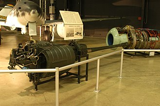 Autocannon - German BK 5 50 mm aircraft autocannon displayed in front of the Me 262 jet that used it