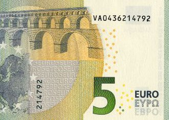 Euro banknotes - The serial number on a 5 euro note. This banknote was printed in Fábrica Nacional de Moneda y Timbre in Spain.