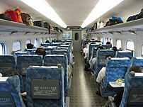 The interior of a 700 Series Shinkansen (Nozom...