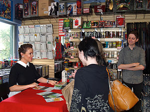 Alyssa Milano - Milano signing fans' copies of her graphic novel, Hacktivist, at Midtown Comics in Manhattan