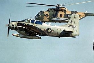 38th Rescue Squadron - Image: A 1E with HH 3C over Vietnam 1966