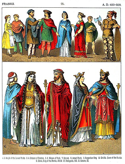 A 19th century depiction of different Franks (AD 400-600) A.D. 400-600, Franks - 025 - Costumes of All Nations (1882).JPG