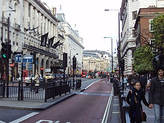 Piccadilly road in the City of Westminster, London, England