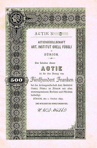 Orell Füssli - Share of the AG Art. Institut Orell Füssli, issued 1. October 1890