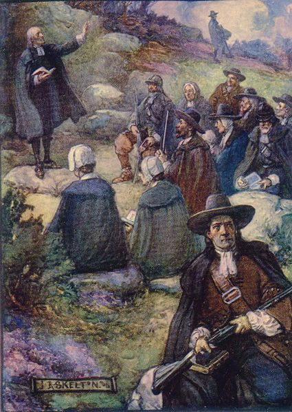File:A Covenanters' Conventicle, from a children's history book.jpg
