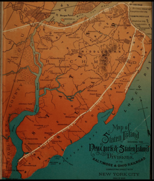 Oakwood Heights (Staten Island Railway station) - Image: A Map of the Staten Island Rapid Transit Company from 1885