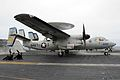 A U.S. Navy E-2C Hawkeye aircraft from Airborne Early Warning Squadron (VAW) 112 prepares to launch from the flight deck aboard the aircraft carrier USS John C. Stennis (CVN 74) in the Pacific Ocean April 28 130428-N-QI595-025.jpg