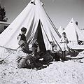 A YEMENITE FAMILY AT THE EZRA UBITZARON QUARTER IN RISHON LEZION. עולים מתימן גרים באוהלים בשכונה חדשה בראשון לציון.D842-002.jpg
