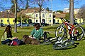 A couple, a dog an two bicycles (16407988872).jpg
