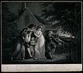 A family contemplates a gravestone. Stipple engraving. Wellcome V0042178.jpg