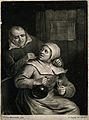 A man leans over a seated woman who holds a glass and bottle Wellcome V0019508EL.jpg