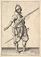 A soldier on guard freeing his right hand, from the Marksmen series, plate 37, in Wapenhandelinghe van Roers Musquetten Ende Spiessen (The Exercise of Arms) MET DP828797.jpg
