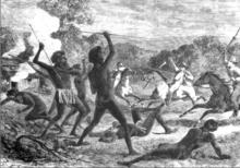 Aborigeni che combattono contro gli europei che invadono le loro case naturali.png