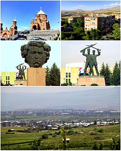 From top left:Surp Hovhannes Church • Abovyan landscapeStatue of Khachatur Abovian  • Russian-Armenian brotherhood memorial at the town hallPanoramic view of Abovyan