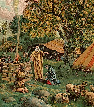Vayikra (parsha) - Abram Called To Be a Blessing (illustration from a Bible card published 1906 by the Providence Lithograph Company)