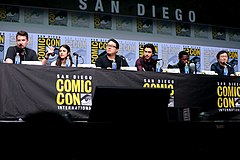 Adam Wingard, Margaret Qualley, Roy Lee, Nat Wolff, Keith Stanfield & Masi Oka (35299453114).jpg