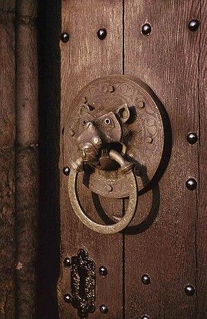 St John the Baptist Church, Adel - The original Norman door ring in 1963.