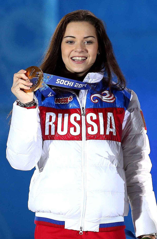 Adelina Sotnikova Sochi Medal Ceremony 05 (cropped)
