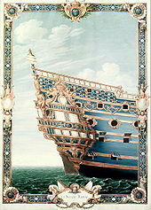 Painting of an ornamented ship's stern seen from the starboard side. The ship has balconies and two stories of quarter galleries with heavy, intricate baroque ornamentation in gold on a blue background. The gold ornaments are a mix of various sculptures, floral shapes and fleurs-de-lis.