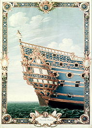 Painting of an ornamenred skip's stern seen from the starboard side, The ship has balconies and two stories of quarter galleries With Heavy, intricate baroque ornamentation in gold on a blue background. The gold ornaments are a mix of various sculptures, floral shapes and fleurs-de-lis.