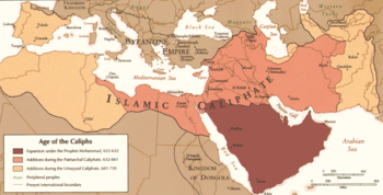 A map of the Middle East and parts of Africa, Europe, and Asia showing the expansion of the Islamic Caliphate by 750. The expansion by Muhammad from 622 to 632 is mainly confined to the Persian Gulf, the Patriarchal Caliphate, lasting from 632 to 661, expands to most of the Middle East, spreading only to northern Egypt. The Umayyad Caliphate, from 661 to 750, extends the Islamic Caliphate to most of North Africa and Iberian Peninsula and farther east from modern-day Iran.