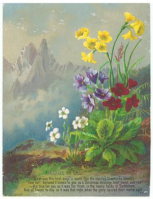 Aiguille du Dru - Chromolithograph by Helga von Cramm, with F. R. Havergal prayer, hymn or verse, late 1870s.