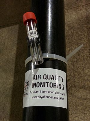 Nitrogen dioxide - Nitrogen dioxide diffusion tube for air quality monitoring. Positioned in the City of London