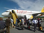 Airbus A319 of FastJet at Mwanza Airport.JPG