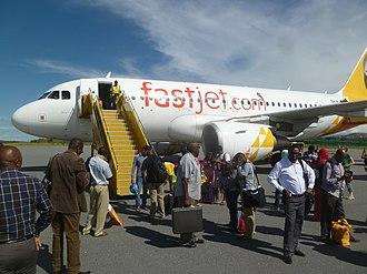 Mwanza Airport - Image: Airbus A319 of Fast Jet at Mwanza Airport